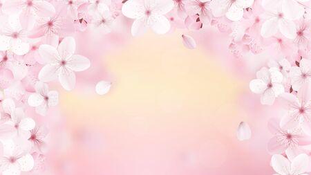 Beautiful print with blossoming light pink sakura flowers 일러스트