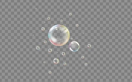 Realistic transparent colored soap or water bubble 일러스트