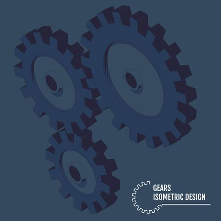 Vector illustration of isometric gears on the grey background. 일러스트