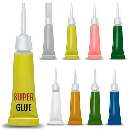 Super glue. 3D realistic metallic container glue . Vector 일러스트