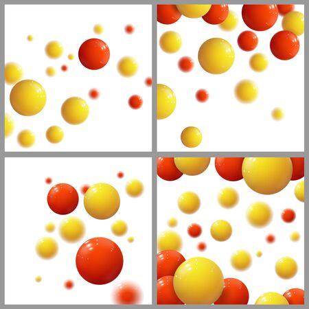 Plastic bubbles, spheres, glossy balls. Vector Set.