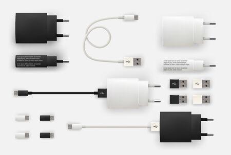 Realistic 3D USB micro cables, connectors, sockets and plug 일러스트