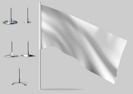 White realistic flags. Mockups of white flag. 일러스트