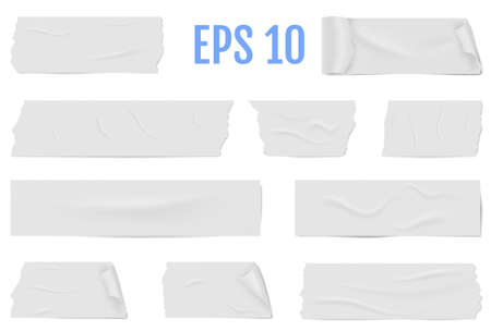 Realistic different slices of a white adhesive tape with shadow and wrinkles isolated on a white. Sticky masking tape. Vector illustration