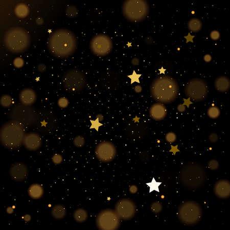 Gold bokeh, shiny glittering golden and silver stars confetti Standard-Bild