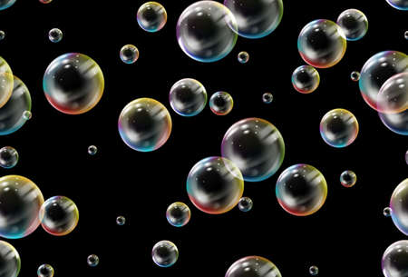 Soap bubbles seamless pattern. Vector