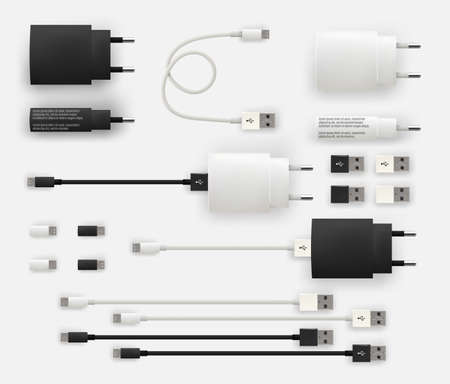 Realistic 3D USB micro cables, connectors, sockets and plug Illustration