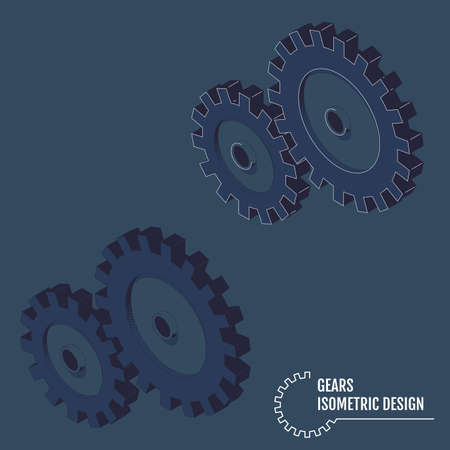 Modern vector illustration of isometric gears with on the grey