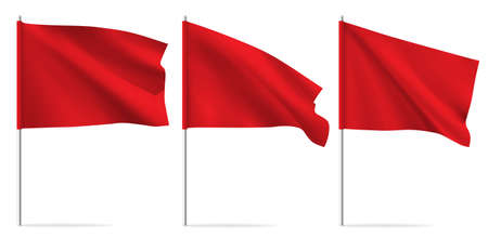 Red clean horizontal waving template flag.