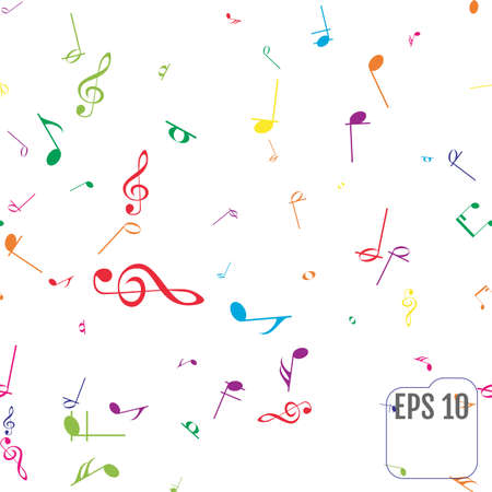 Seamless Pattern with Colorful music notes Illusztráció