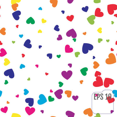 Seamless Pattern with Colorful hearts.