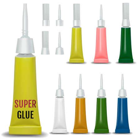 Super glue. 3D realistic metallic container glue . Vector Illustration