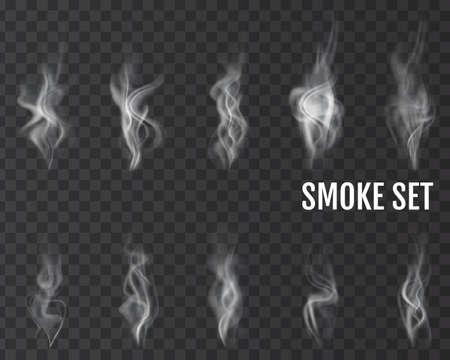 Realistic cigarette smoke waves. Vector.