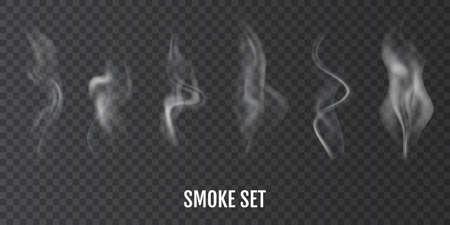Cigarette smoke. Set of realistic smoke