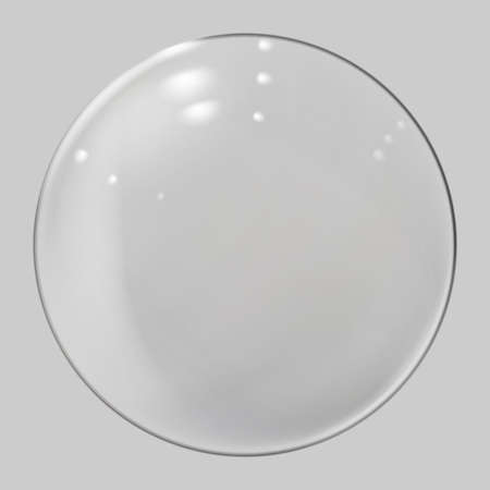 Realistic glass sphere. Transparent ball, realistic bubble Ilustracja
