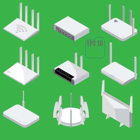 Router isometric icons set. Vector