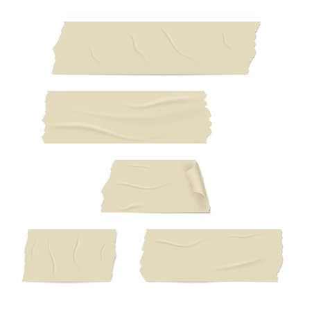 Slices of a adhesive tape with shadow and wrinkles.