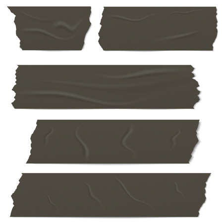 Slices of a black adhesive tape with shadow and wrinkles. Vetores