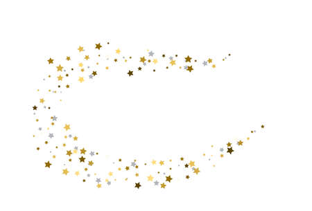 Stream from gold and silver stars. Vector 向量圖像