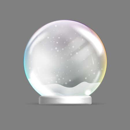 Christmas glass sphere. Christmas snow globe. 向量圖像