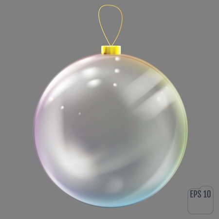 Realistic glass christmas ball with colored reflections. 向量圖像
