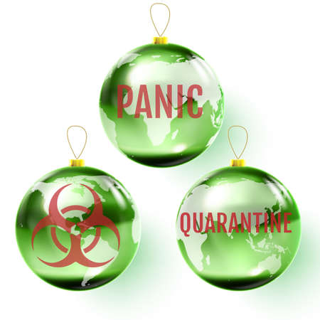 Christmas ball dedicated to the coronavirus pandemic. 向量圖像