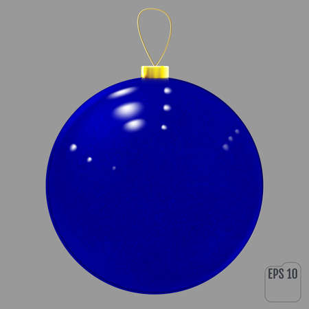 Realistic blue glass christmas ball. 向量圖像