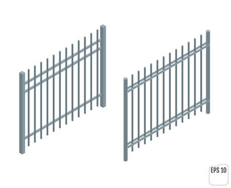 Isometric metall fence sections. Fencing constructor. 向量圖像