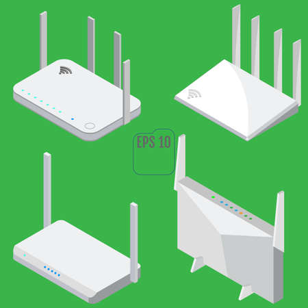 Router isometric icons set. Isolated