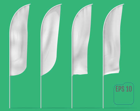 Mockups of banner flags. Vector