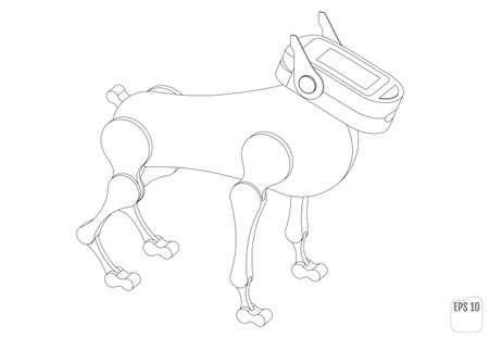Robot dog. Isometric mechanical animal 向量圖像