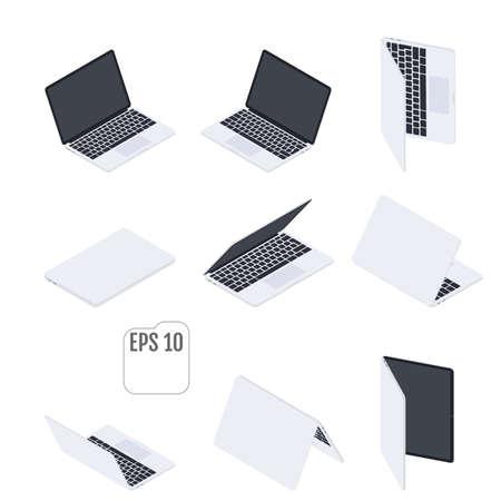 Flat Isometric Laptops. Flat Notebooks.