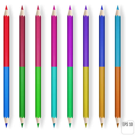 Realistic color pencils on white background.