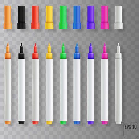 Felt tip pens. Colorful marker pens set 向量圖像