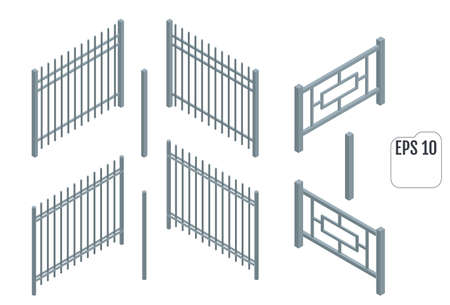 Isometric Metal fence sections. Vector