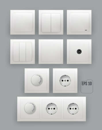 White wall switch. Power electrical socket. 向量圖像