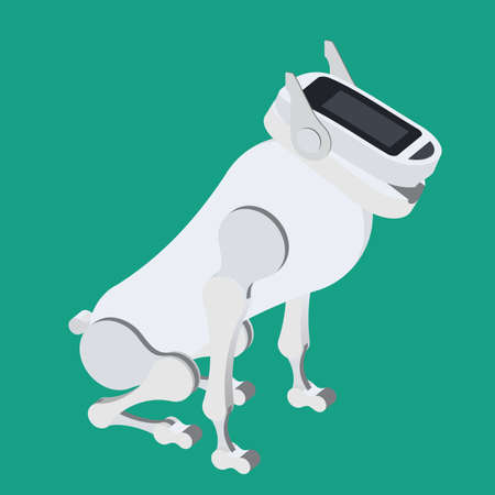 The mechanical robot dog, futuristic pet.