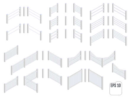 Isometric white fence sections. Vector