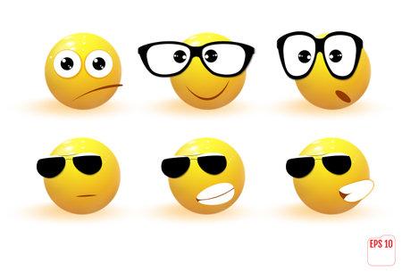 Set of yellow emotions. Emoji. Ilustrace