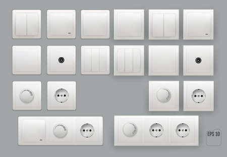 Wall switch. Power electrical socket. 向量圖像