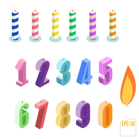 Set of isometric birthday candles. Vector