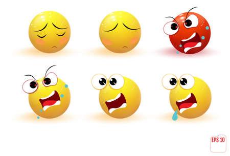Set of yellow emotions. Emoji. Иллюстрация