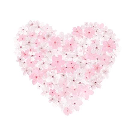 Sakura flower heart, cherry flowers