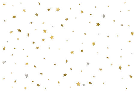Gold star background. 3d golden stars confetti. Vector