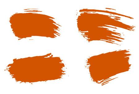 Stylish orange brush, acrylic paint. Illustration