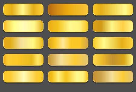 Yellow gold gradients. Golden metallic gradients