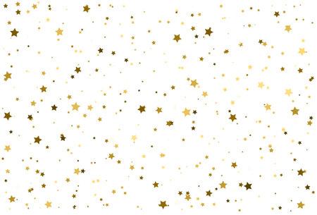 Magic gold stars confetti pattern, Golden background Illustration