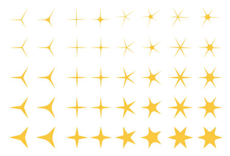 Yellow, gold, orange sparkles symbols. Stars vector.