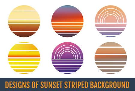 Sunset striped backgrounds. Sunset striped backdrops. Illustration