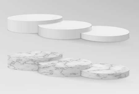 Realistic marble and white pedestals or podium, abstract geometric empty museum stages Illustration